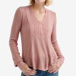 Lucky Brand Pink Pintuck-Bib Knit Long Sleeve Top